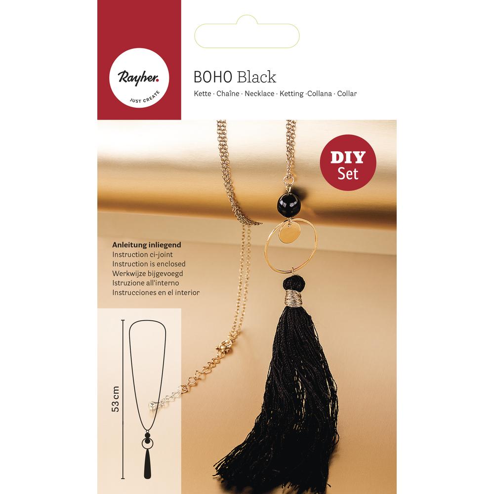 Bastelpackung: Boho-Quastenkette, SB-Btl 1Stück, schwarz/gold