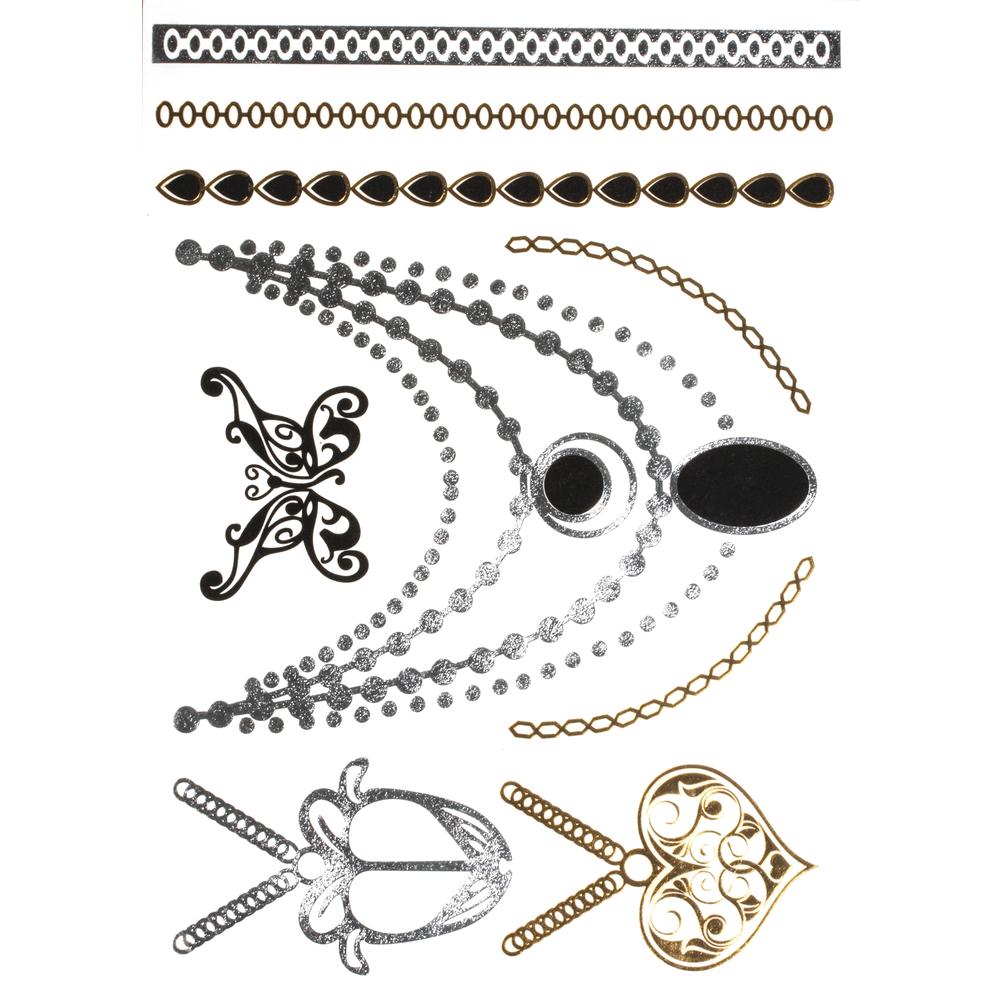 Schmuck Tattoos- gold,silber,schwarz, 14x21cm, SB-Btl 1Bogen