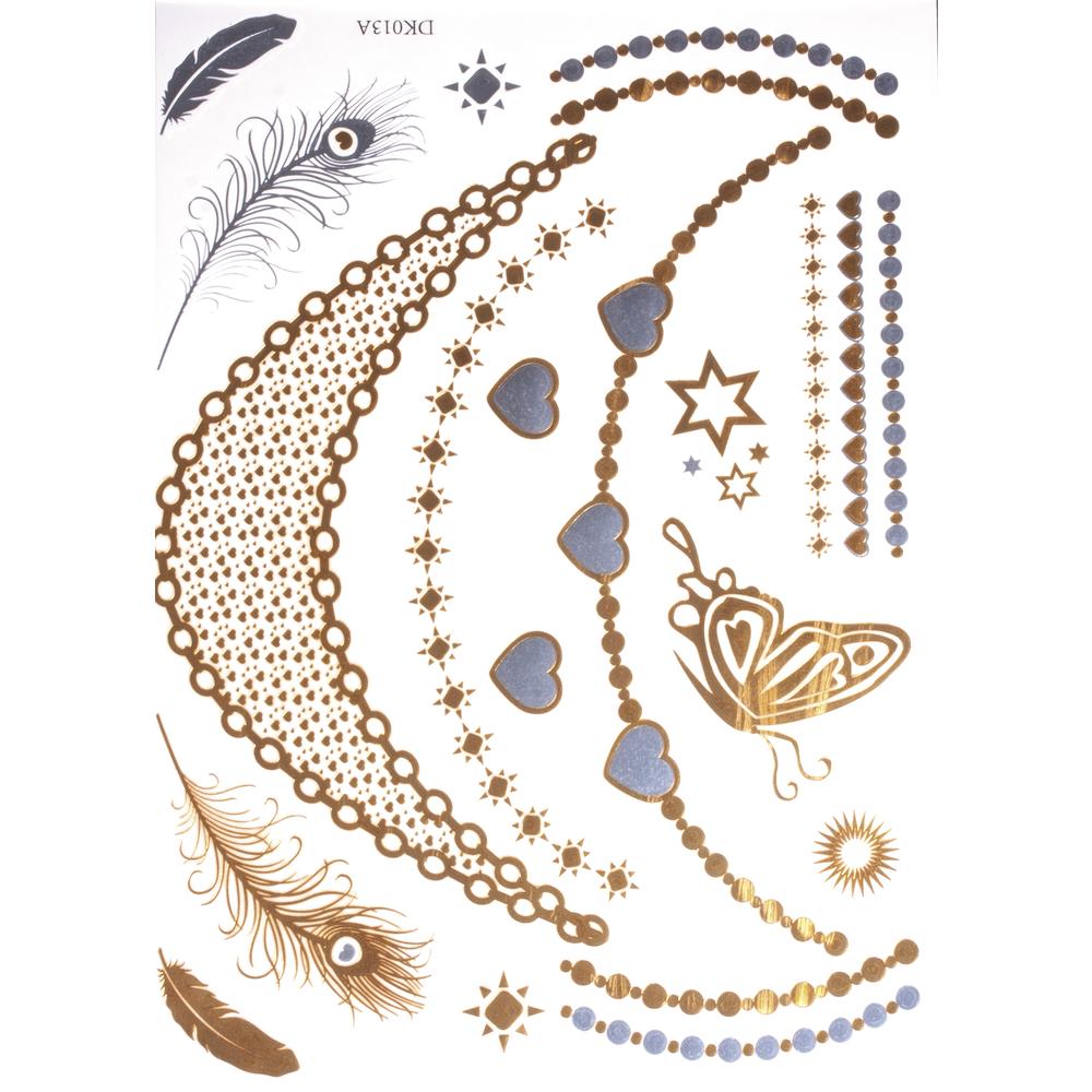 Schmuck Tattoos- gold, silber, 14x21cm, SB-Btl 1Bogen