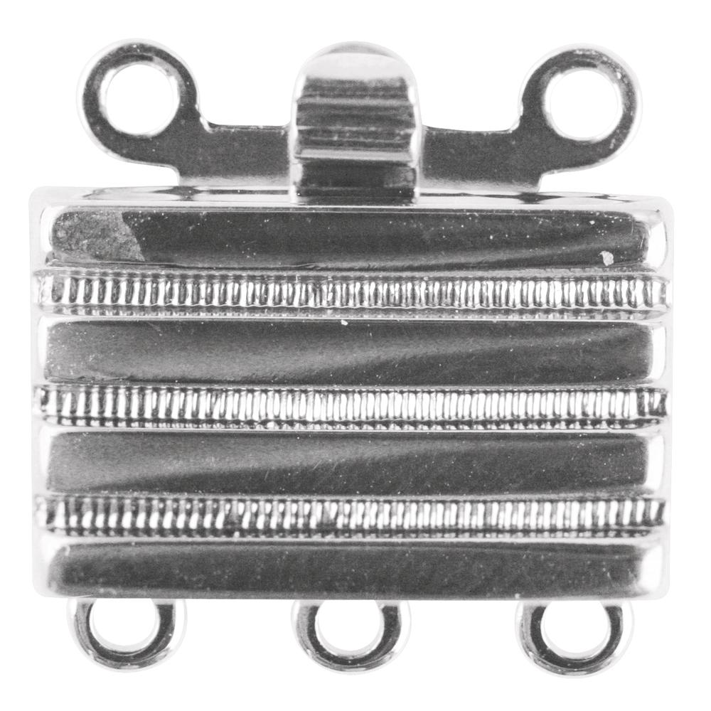 Schmuckschließe, rechteckig, 8,5x12,9mm, 3 reihig, SB-Btl 1Stück, silber