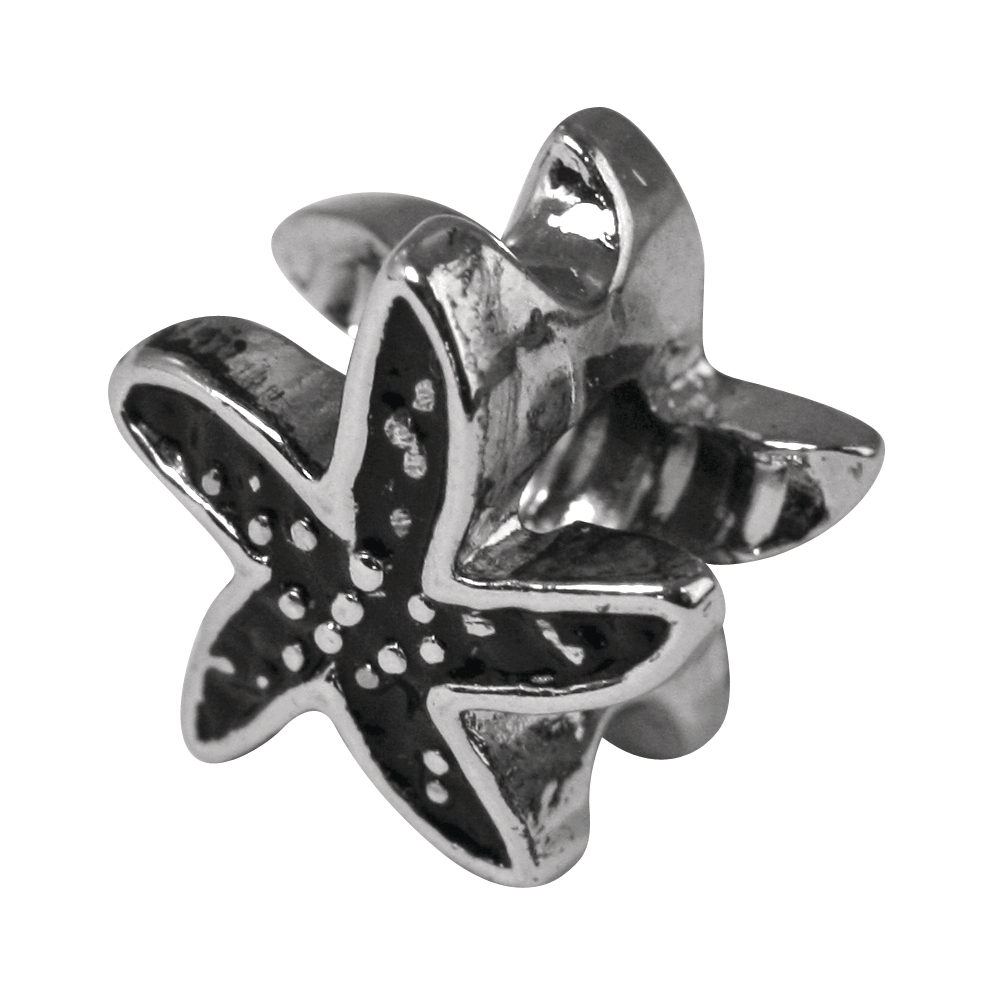 Metall-Zierelement: Seestern, 12mm, Großloch 4mm ø, lose, altsilber