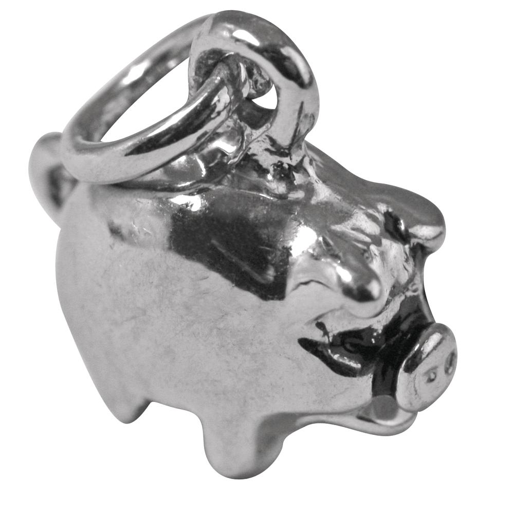 Metall-Anhänger Glücksschwein, 11mm, 11mm, Öse 2,5mm ø, lose, silber
