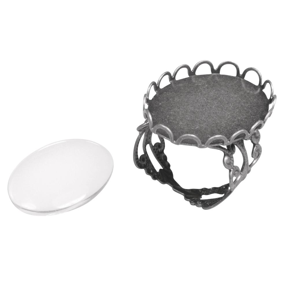 Metall- Fassung: Ring m. Zierrand, 1,8x2,5cm, m. Cabochon, SB-Btl 1Set