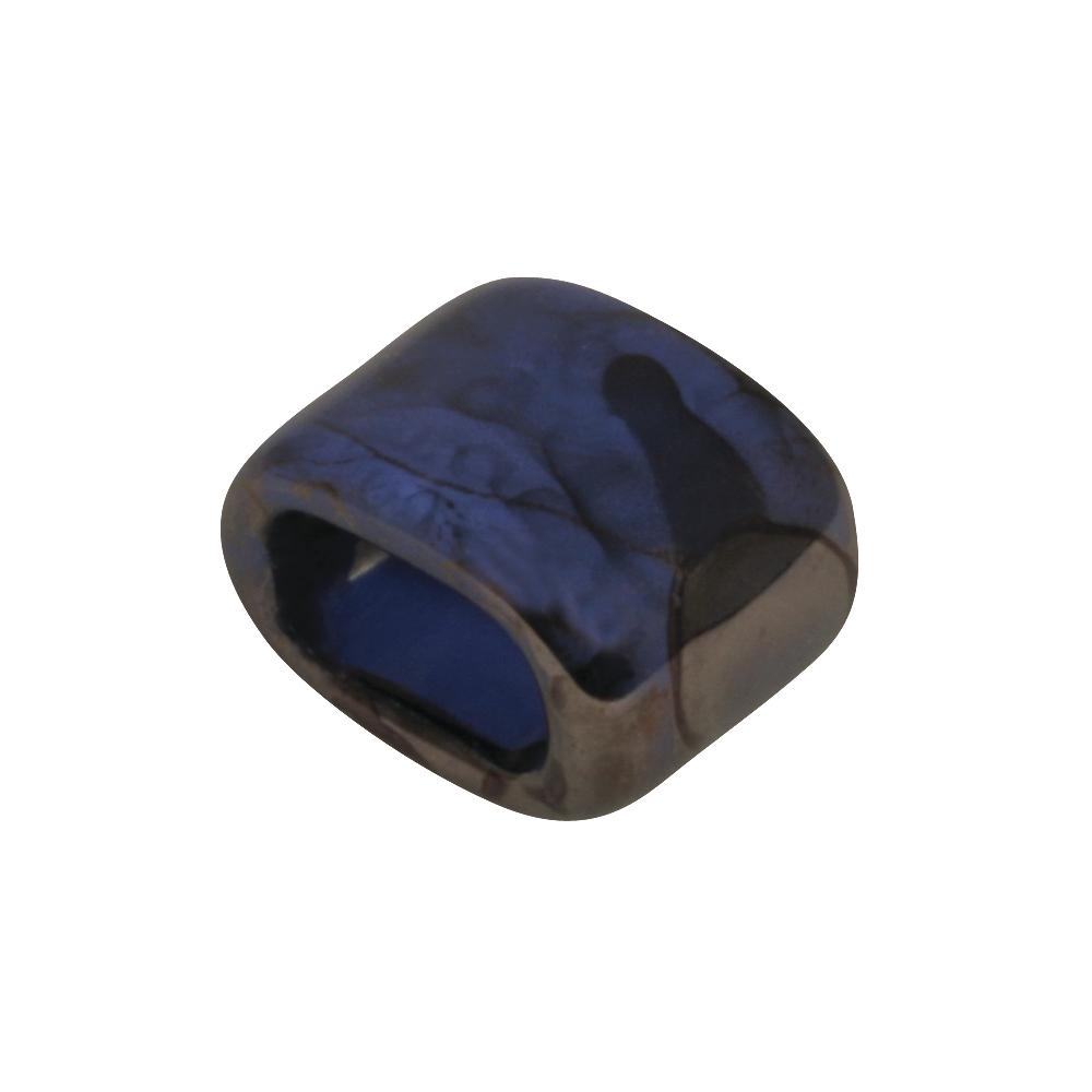 Keramik- Zierelement: Oval, 1,8x1,4x1,2cm, f. Lederband Art. 22-700-, mittern.blau