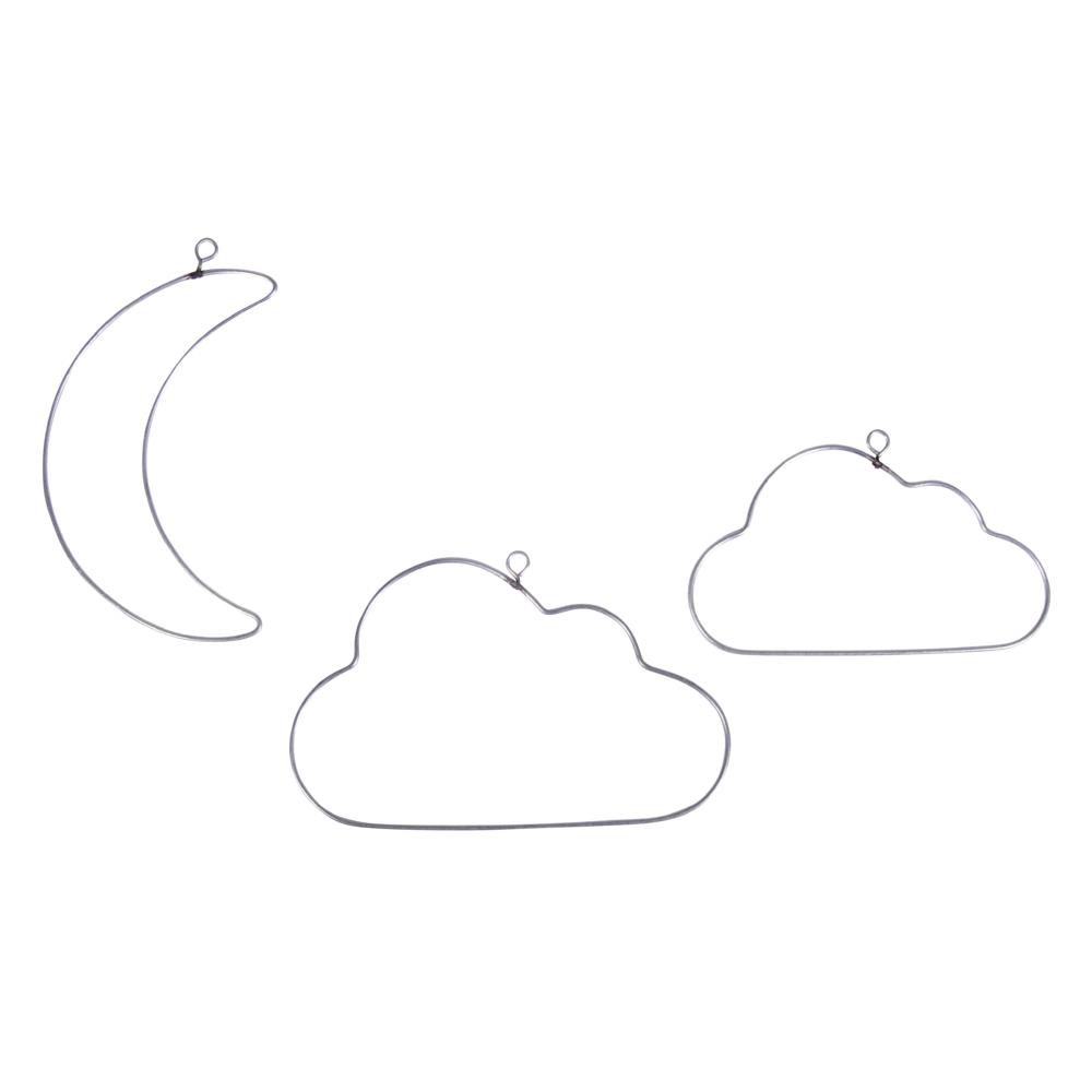 Draht Halbmond+Wolken, sort. 10-12cm, SB-Btl 3Stück