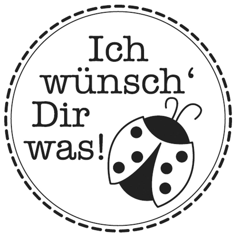 Mini-Holzstempel Ich wünsch'Dir, 2cm ø