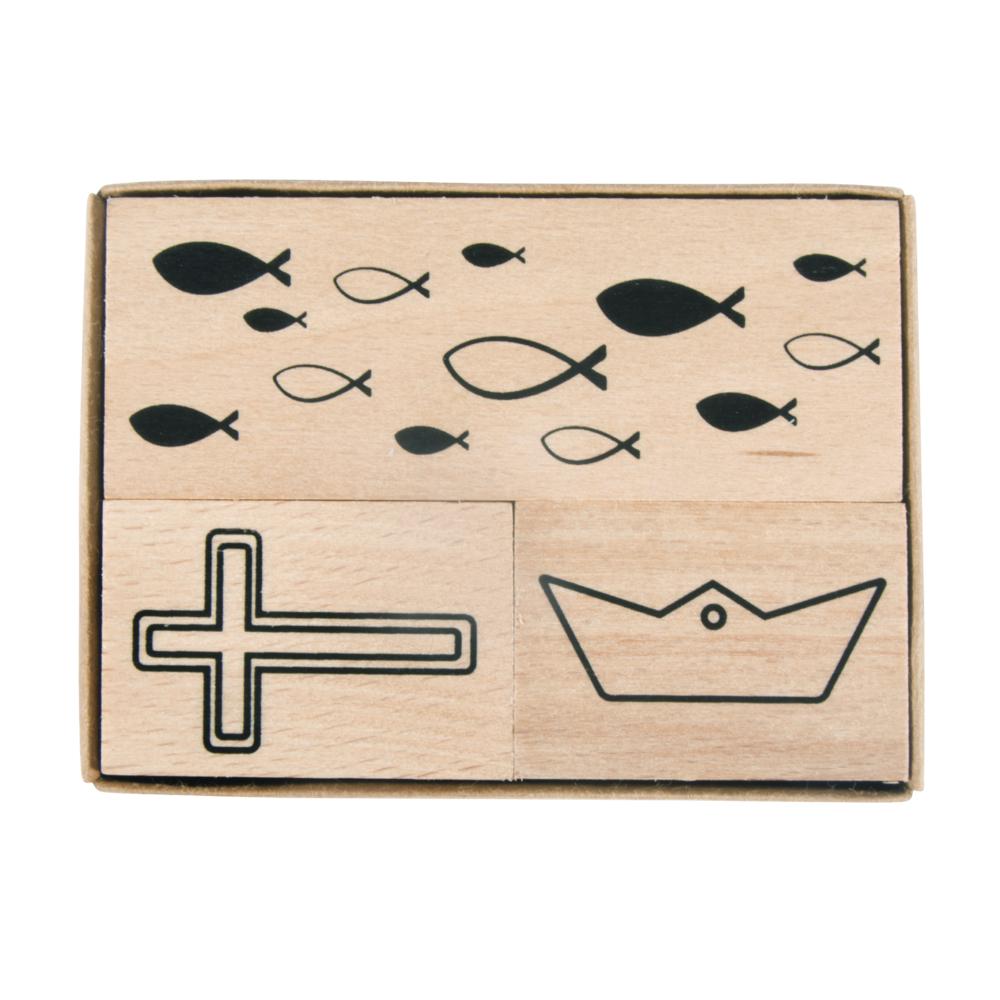 Holzstempelset Konfirmation,Kommunion, 3,9x2,6cm - 8,3x2,6cm, Box 3Stück