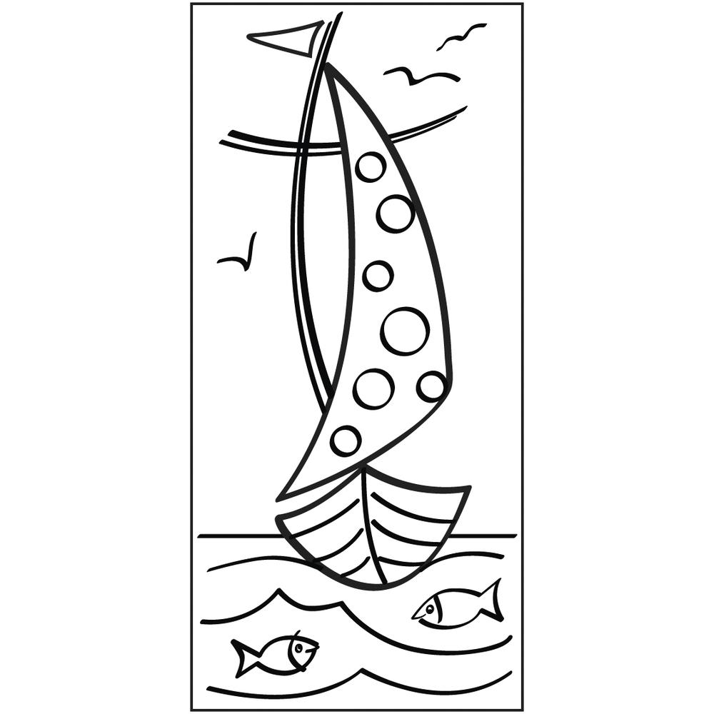 Stempel Mit Jesus in einem Boot, 5x10cm