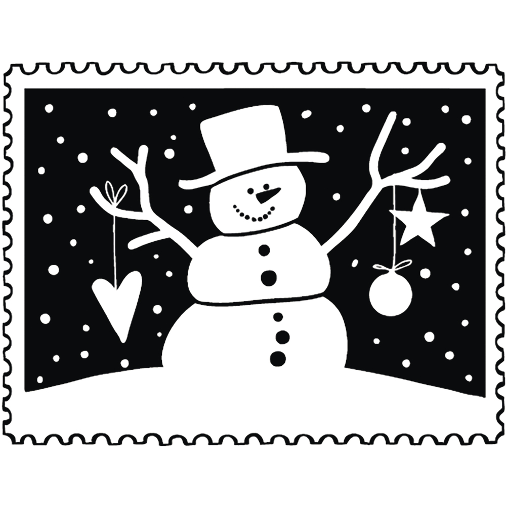Stempel Weihnachtspost: Schneemann, 4x5cm