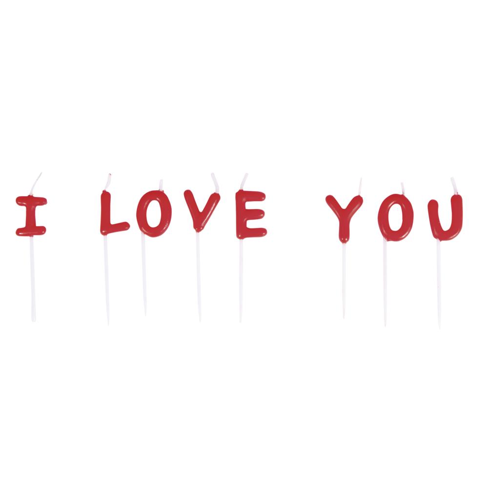 Kerzensticks  I LOVE YOU , 2x7,7cm, 8 Buchstaben, SB-Blister