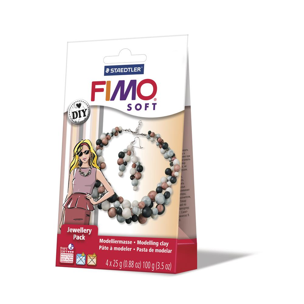 Fimo DIY Schmuckset: Perle, 1 Kette, 1 Paar Ohrringe, SB-Box
