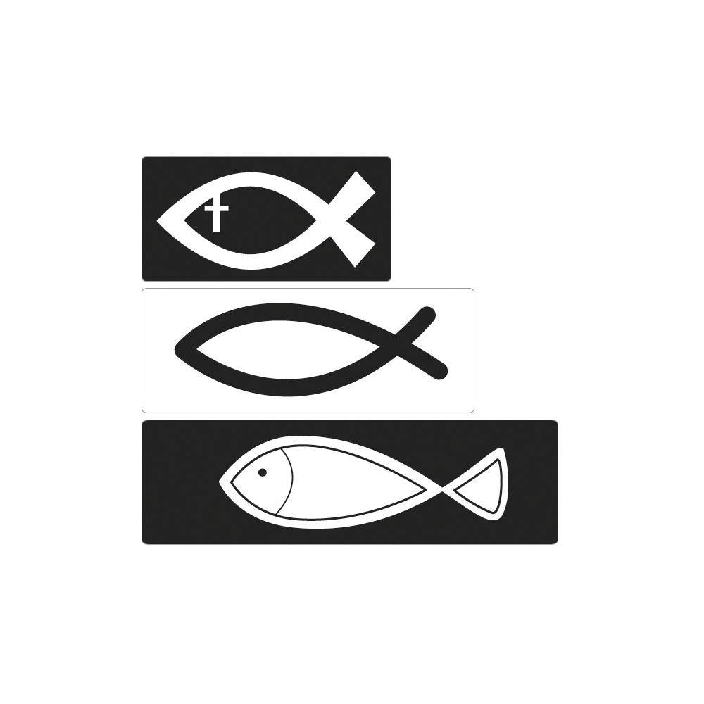 Labels Christliche Fische, 2,8x1,4cm-4,7x1,4cm, SB-Btl 3Stück