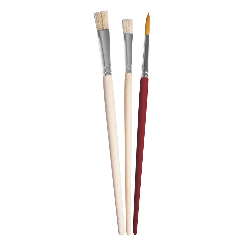 Pinselset Art,sortiert, FSC 100%, Borste/Synth. kurzstielig, SB-Btl 3Stück