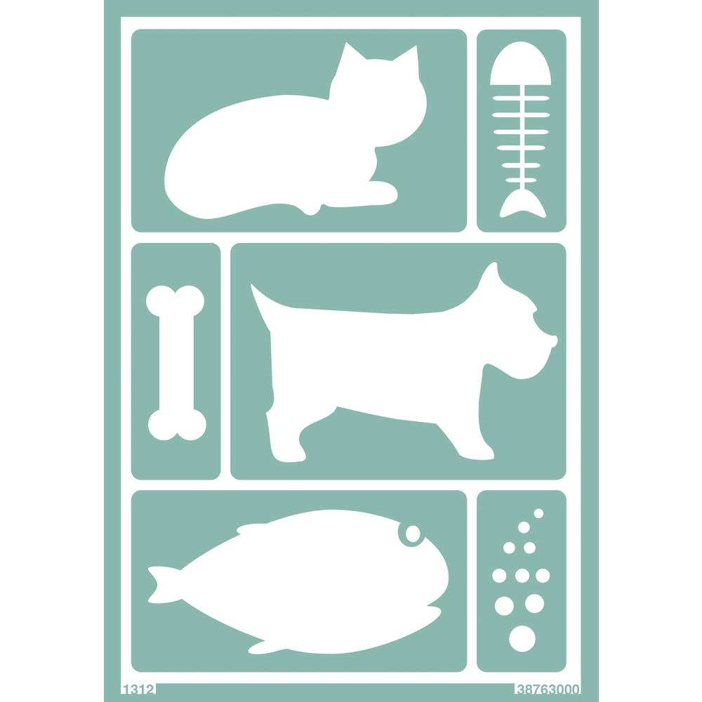 Softschablone: Katze / Hund / Fisch, DIN A5, selbstklebend, SB-Btl 1Stück