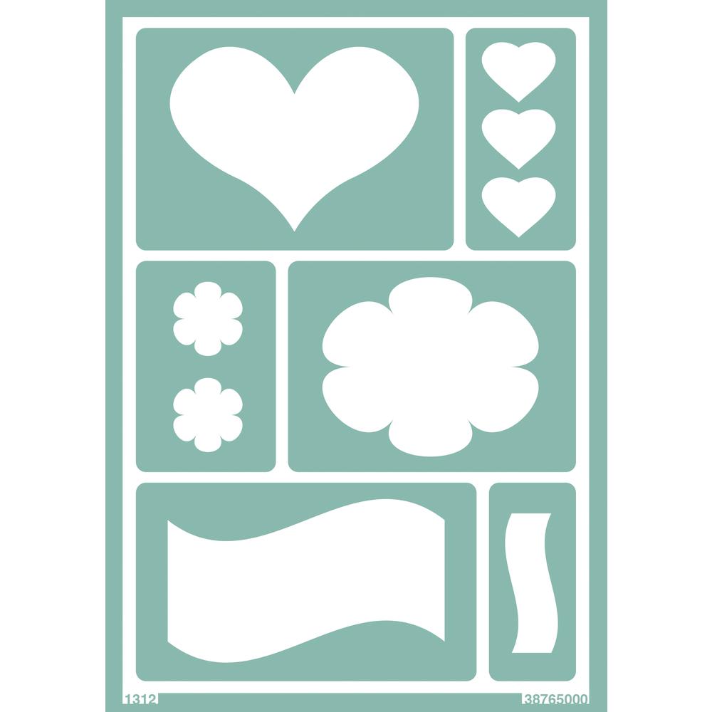 Softschablone: Herz / Blume / Welle, DIN A5, selbstklebend, SB-Btl 1Stück