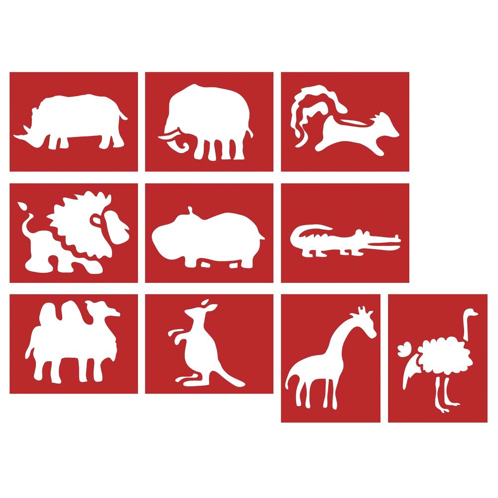 Papier SchablonenWilde Tiere 7-11cm, 10 verschiedene Motive, SB-Btl 10Stück