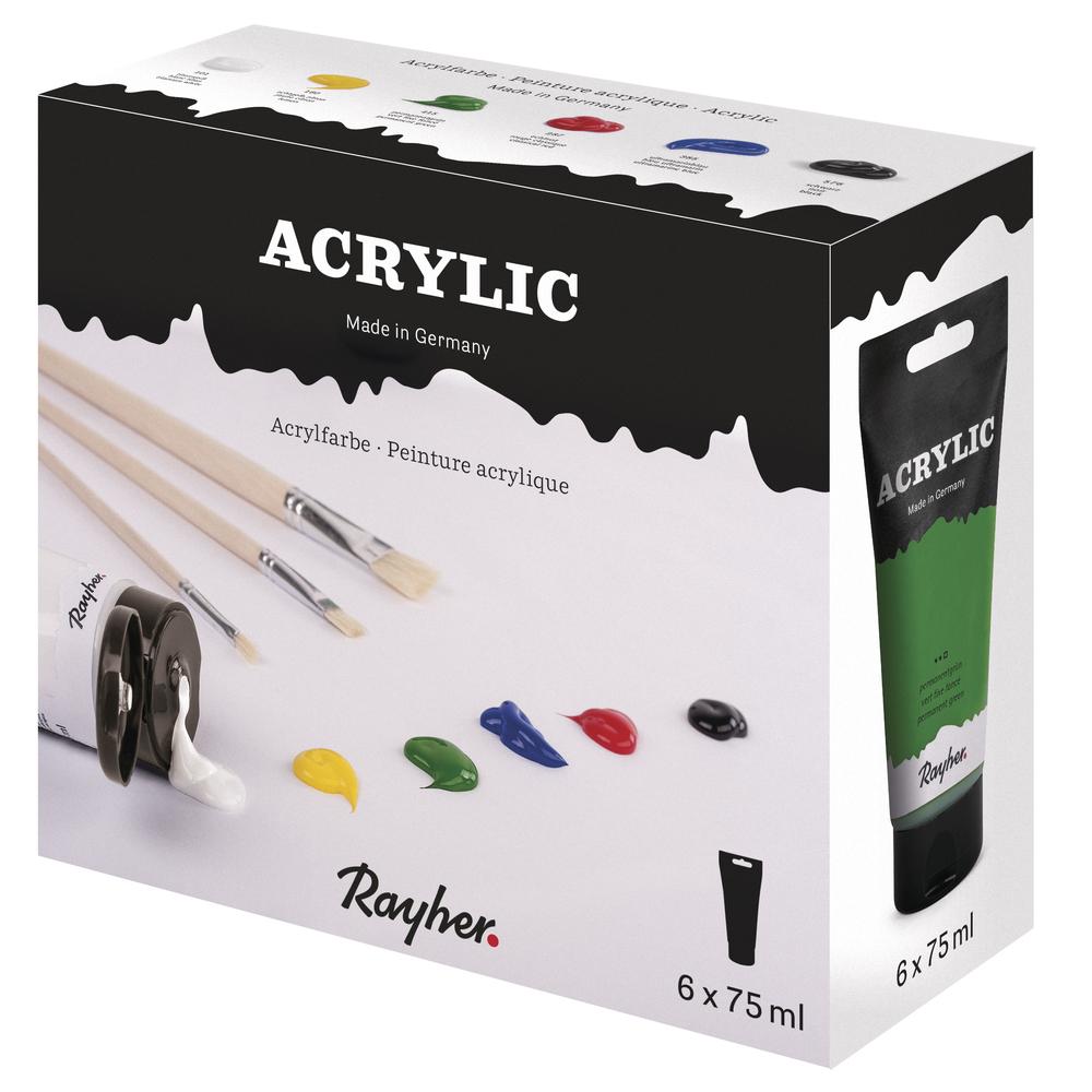 Acrylic-Set 6 x 75 ml, Künstleracrylfarbe , Karton 450ml