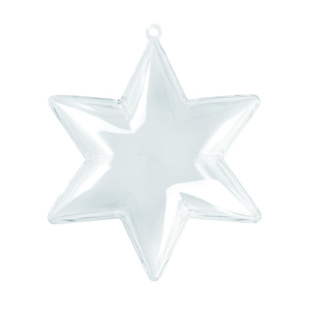 Plastik-Stern, 2tlg., 10cm ø, kristall