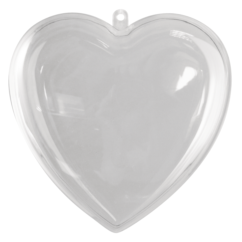 Plastik-Herz, 2tlg., 14 cm, kristall