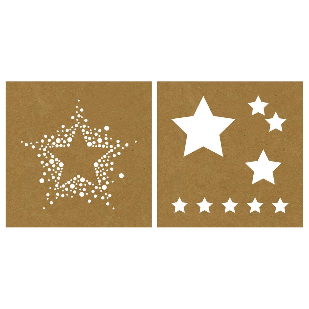 Papier-Schablone Sterne, 20,3x20,3cm, 2 Designs, SB-Karte 2Stück