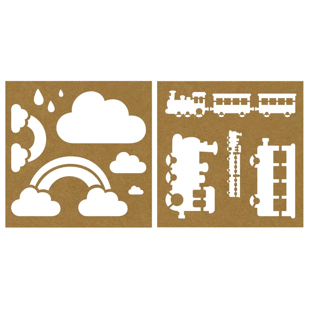 Kraftpapier-Schablone Zug/Wolke, 26x26cm, 2 Designs, SB-Karte 2Stück