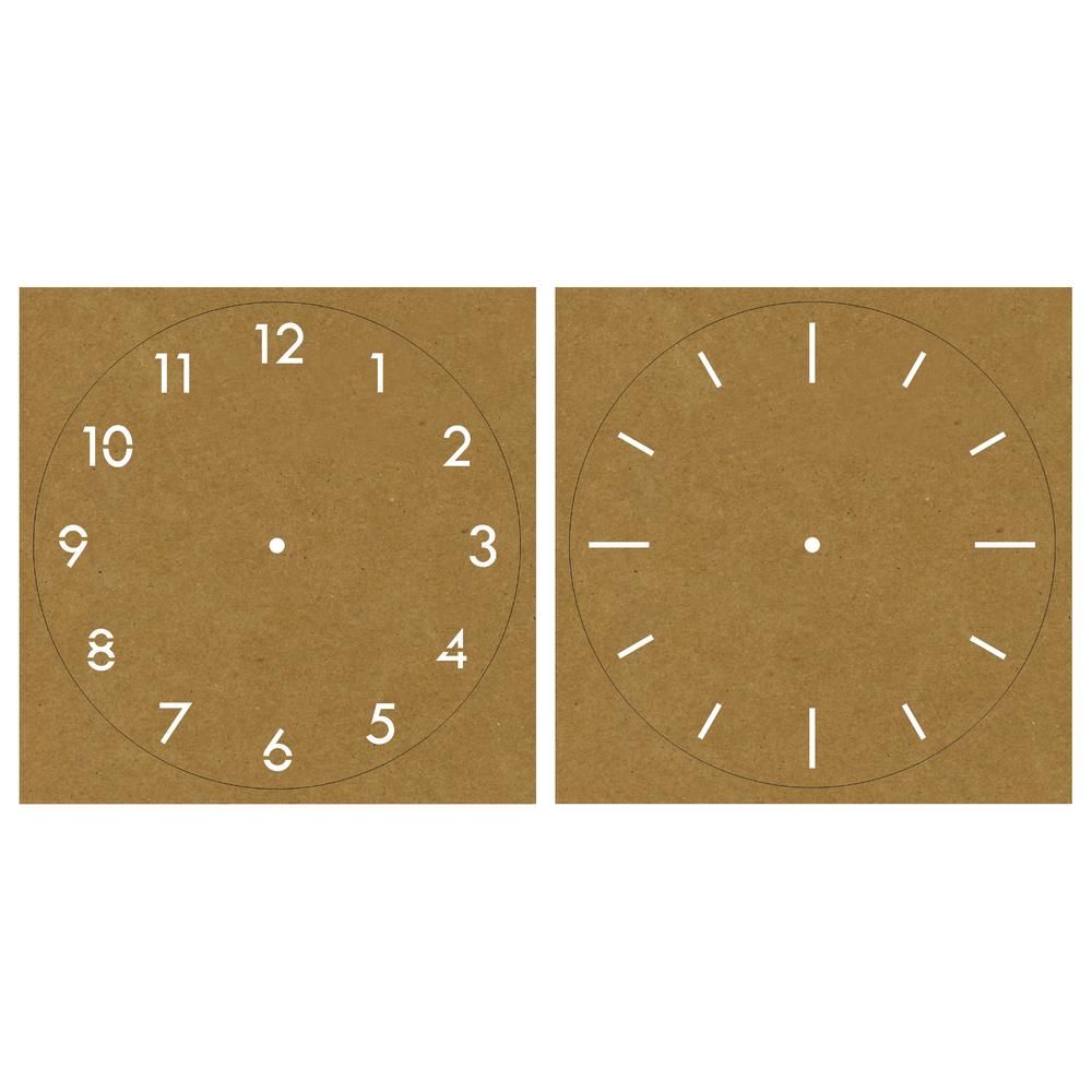 Kraftpapier-Schablone Uhr Classic, 26x26cm, 2 Designs, SB-Karte 2Stück