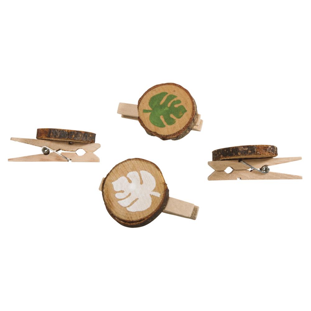 Holzklammer mit Blatt, 3,5x4,7cm, 2 Farben, SB-Btl 4Stück