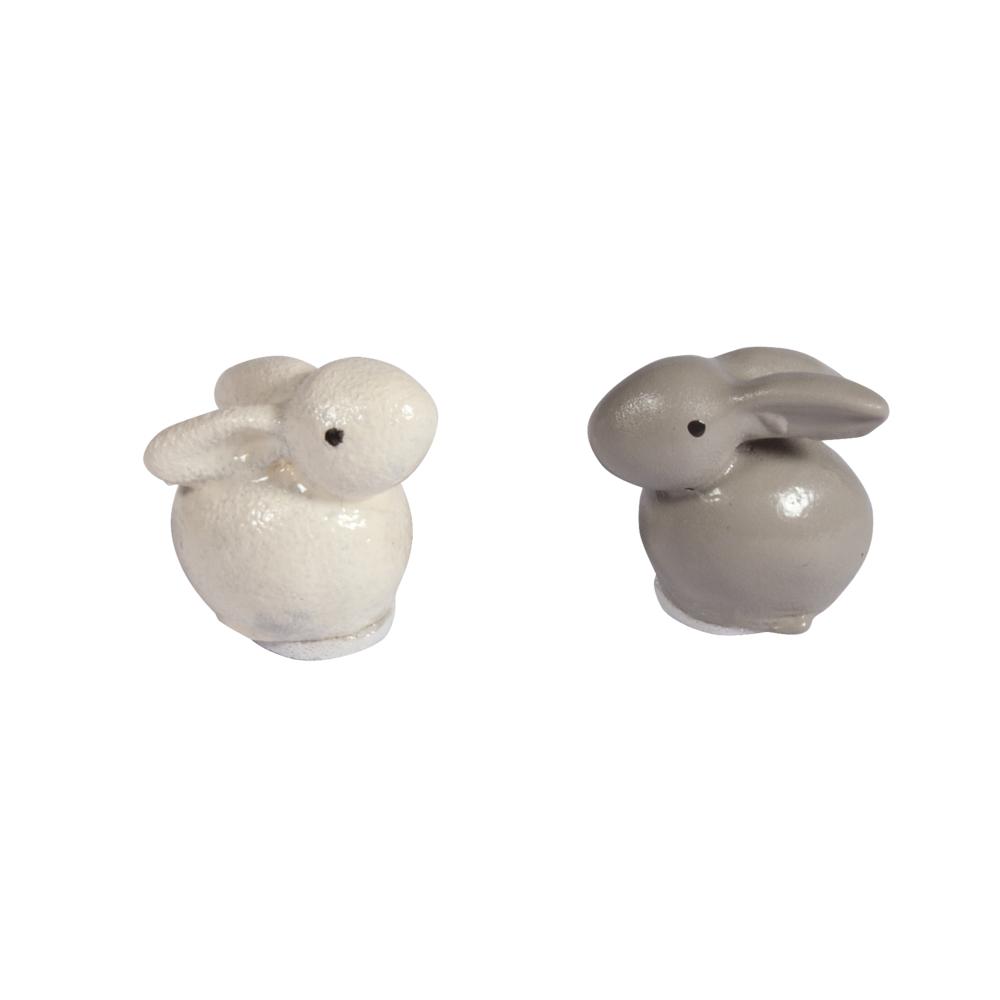 Polyresin Hasen mit Klebepunkt, 1,5x1,2x2cm, sortiert, PVC-Box 6Stück