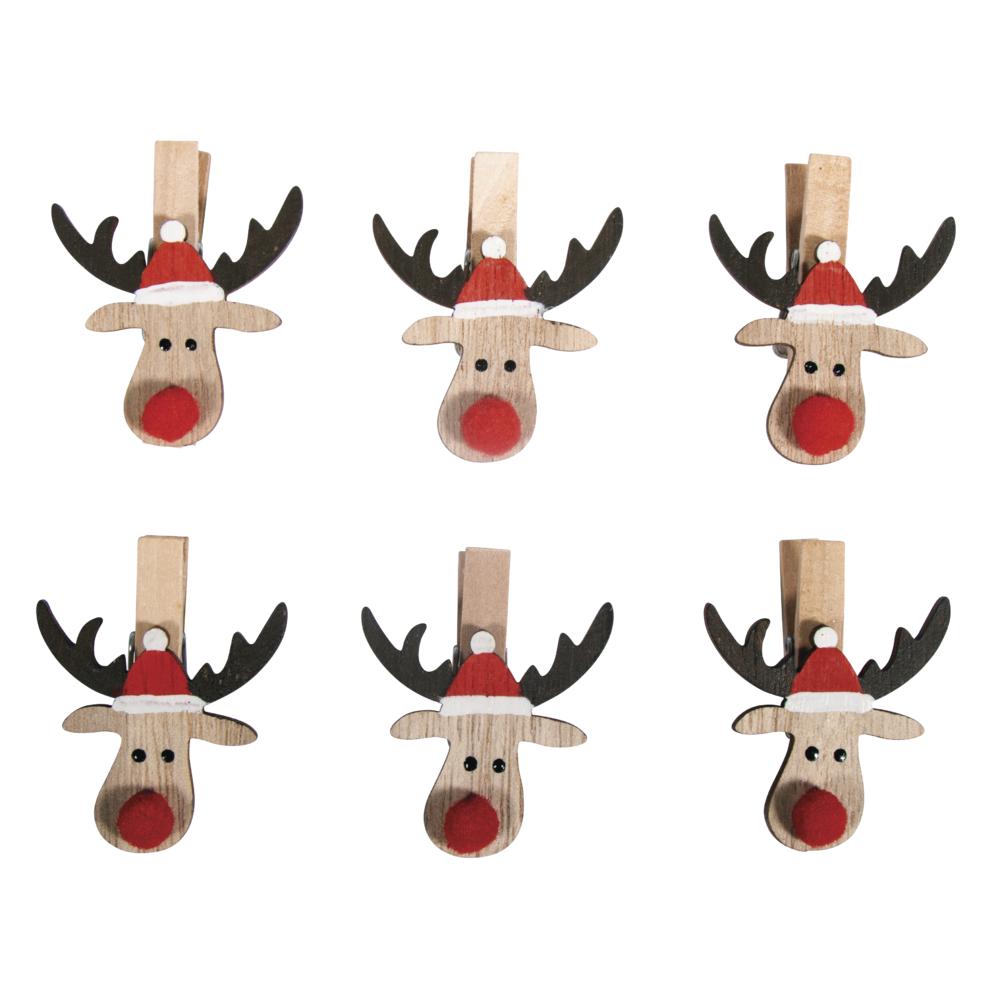 Holz Weihnachtselch auf Klammer, 3,8x4,7cm, SB-Btl 6Stück