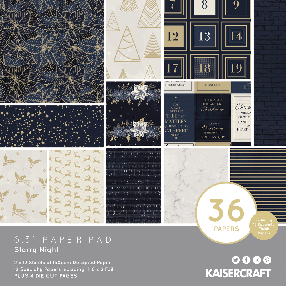 Scrap.Block Starry Night, 16,5x16,5cm, 160g/m2, 40Bogen