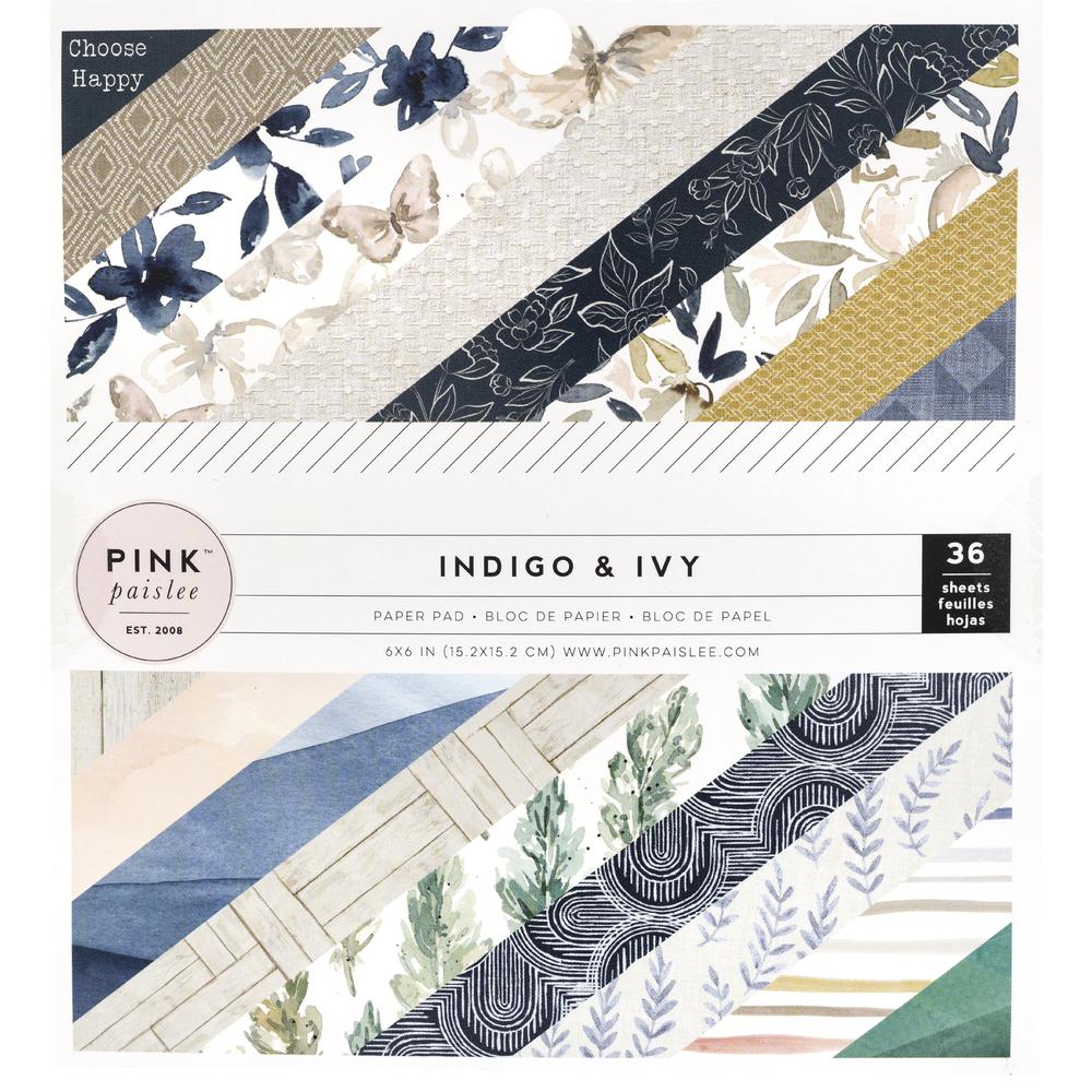 Scrap.Papier Block Indigo&Ivy, 15,2x15,2cm, 175g/m2, Block 36Bogen