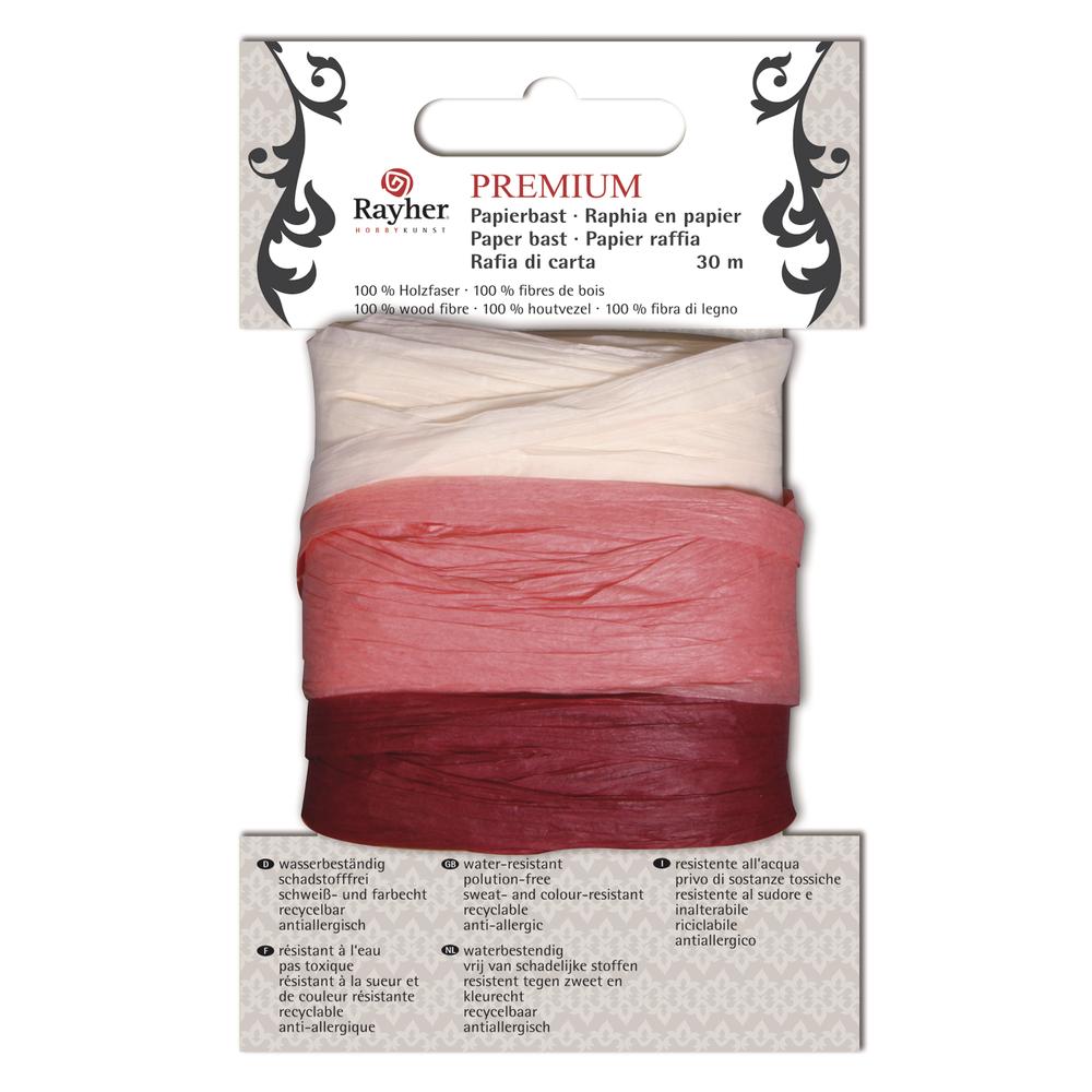 Premium Papierbast, aus 100% Holzfaser, je Fb.10m, Karte 30m, beige/rosa/bordeaux