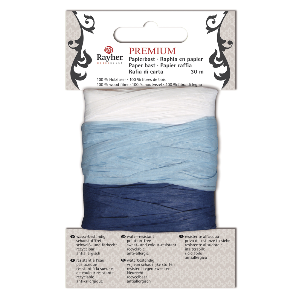 Premium Papierbast, aus 100% Holzfaser, je Fb.10m, Karte 30m, blau-Töne