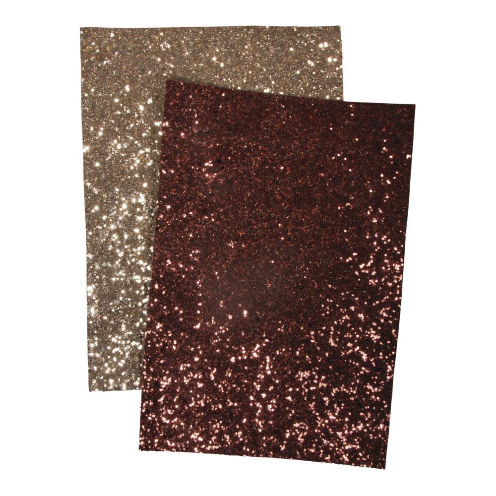 Glitzerstoff, sort.gold/nougat, 148x210mm, 510g/m2, SB-Btl 2Bogen