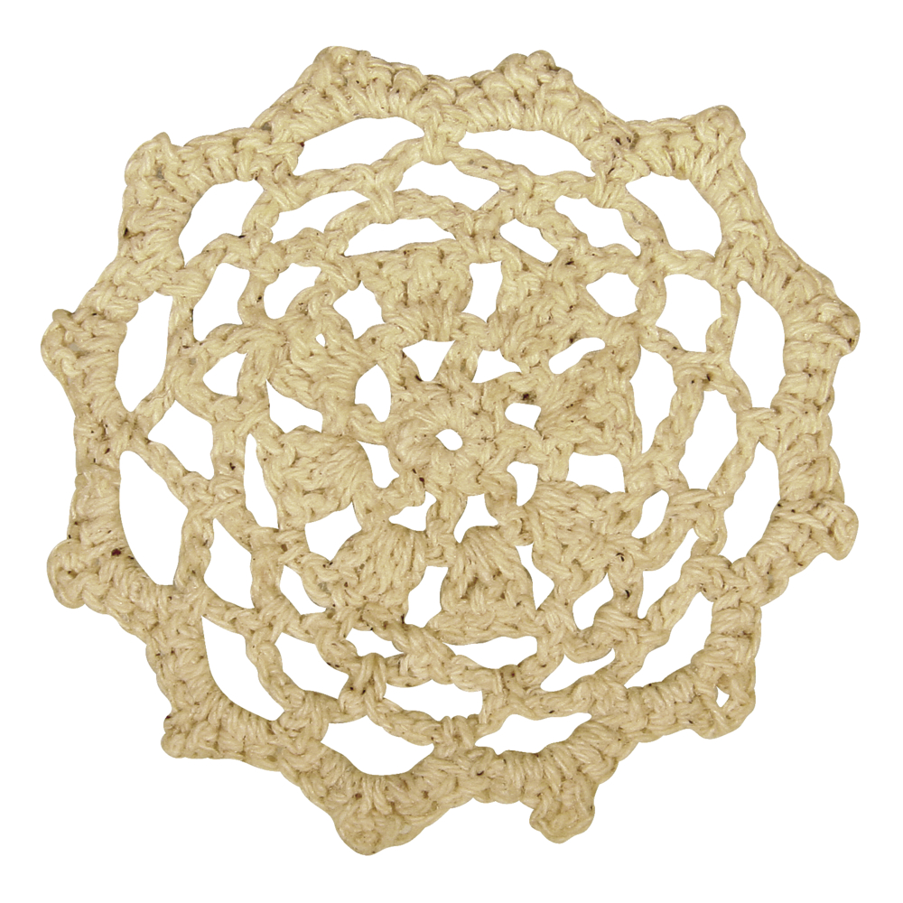 Spitzenornament, gehäkelt, 7,5cm ø, SB-Btl 3Stück, beige