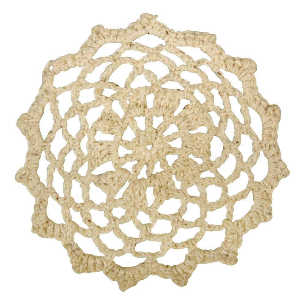 Spitzenornament, gehäkelt, 9,5cm ø, SB-Btl 3Stück, beige