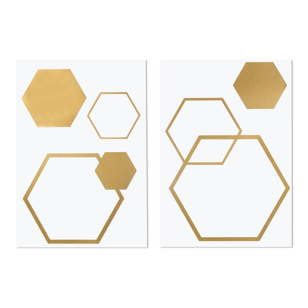 Bügel-Transferfolie Wabe, 5 Stück, 6-13,5 x 5,1-15,5cm, SB-Btl 2Bogen, gold