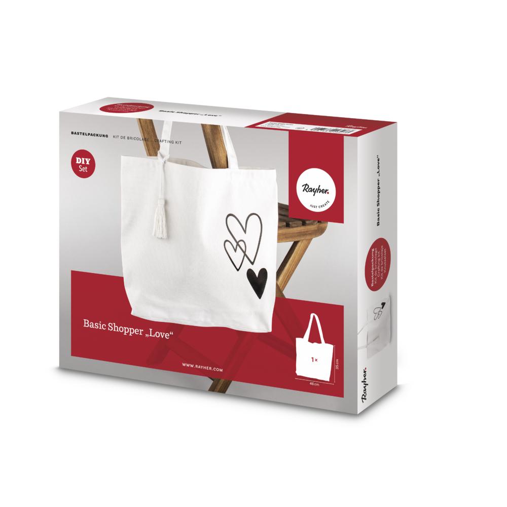 Bastelpackung: Basic Shopper Love, 46x35cm, Box 1Set