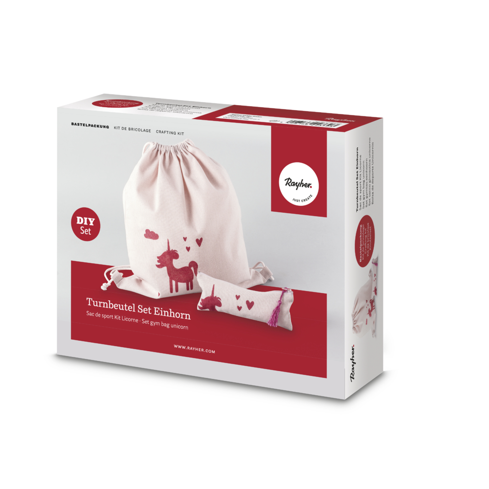Bastelpackung: Turnbeutel Set Einhorn, 38x42cm+21x8cm, Box 1Set