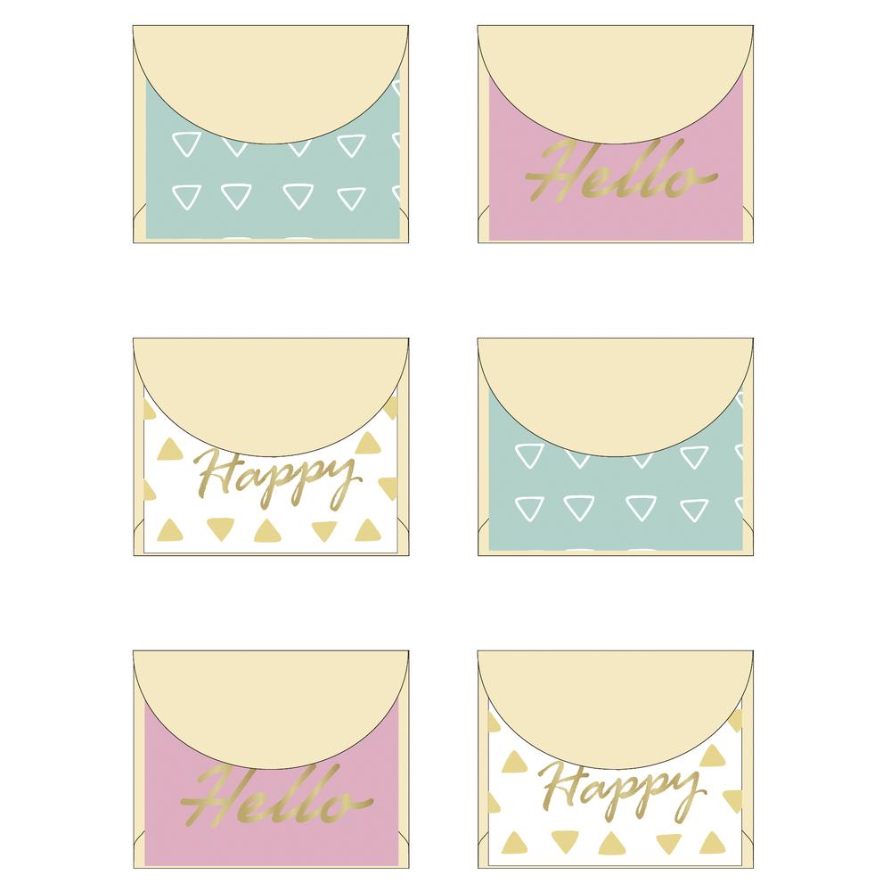 Mini Umschläge - Happy, 5x4cm, SB-Karte 6Stück