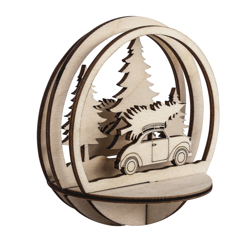 Holz-Steck.Auto+Baum,FSCMixCred, 9,5cm ø, 5-tlg., SB-Btl 1Set, natur