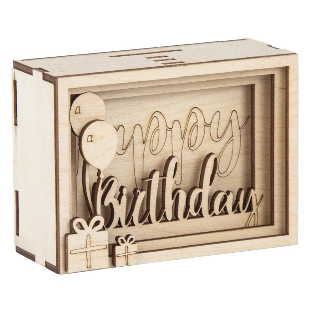 Holz 3D GeschenkboxBirthday,FSCMixCred, 11,5x8,5x5cm, 13 tlg. Bausatz, Box 1Set, natur