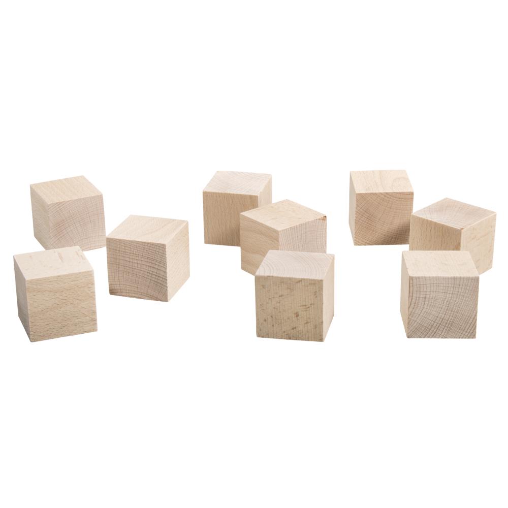Holz-Würfel, 4,5x4,5x4,5cm, Box 9Stück, natur
