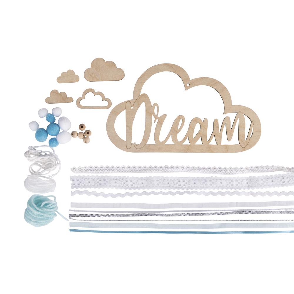 Bastelpackung: Holzhänger mit Bänder Dream, Holzhänger: 22x12,5cm, SB-Btl 1Set, hellblau