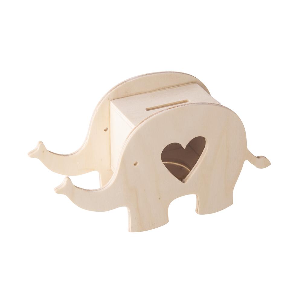 Holz Spardose Elefant, FSC 100%, 16,4x5,5x9cm, natur