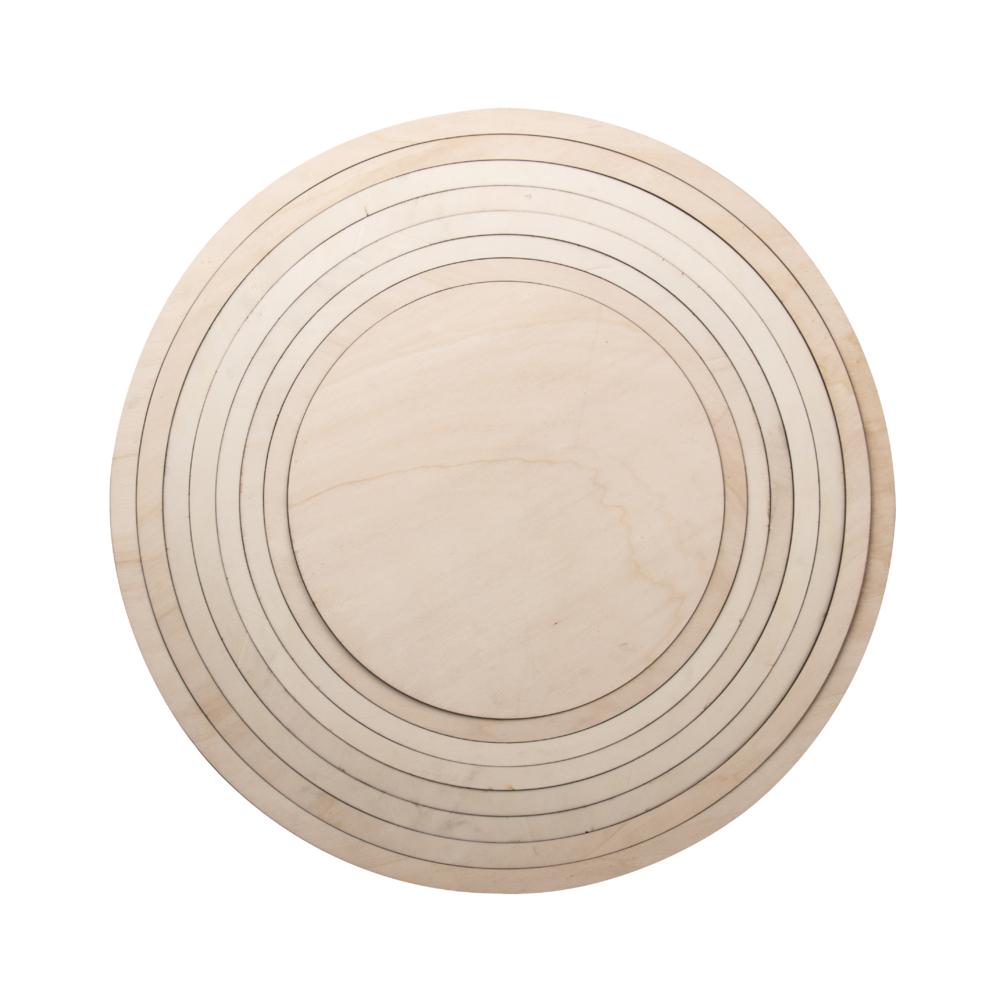 Holzringe m. Platte, FSCMixCred, 60cm ø, 8-teilig, Box 1Set, natur