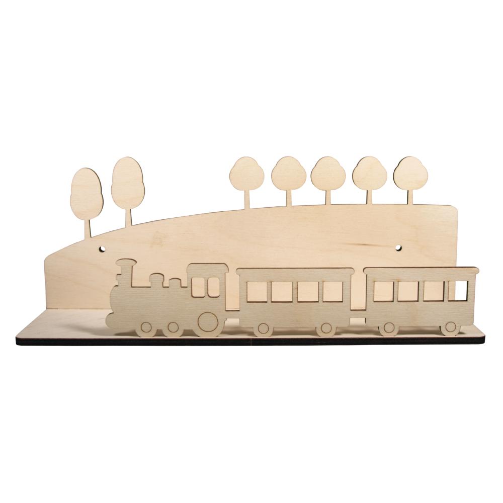 Holzbausatz Regal Zug, FSCMixCred, 35x14x10cm, 5-teilig, Box 1Set, natur