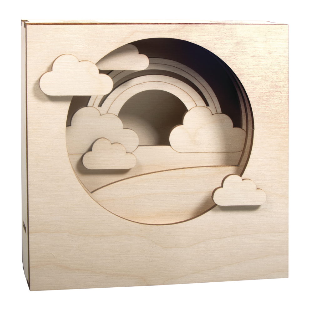 Holzbaus. 3D-Motivrahmen, FSCMixCred., 15,5x15,5x3,4cm, Wolke, 12tlg., Box 1Set, natur