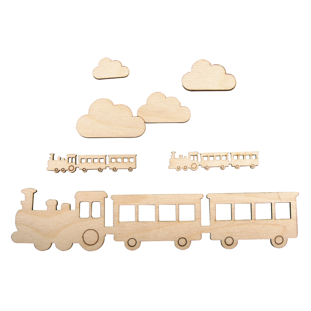 Holzmotiv kleiner Zug, FSCMixCred, 21,7x4,8cm, 6-teilig, SB-Btl 1Set, natur