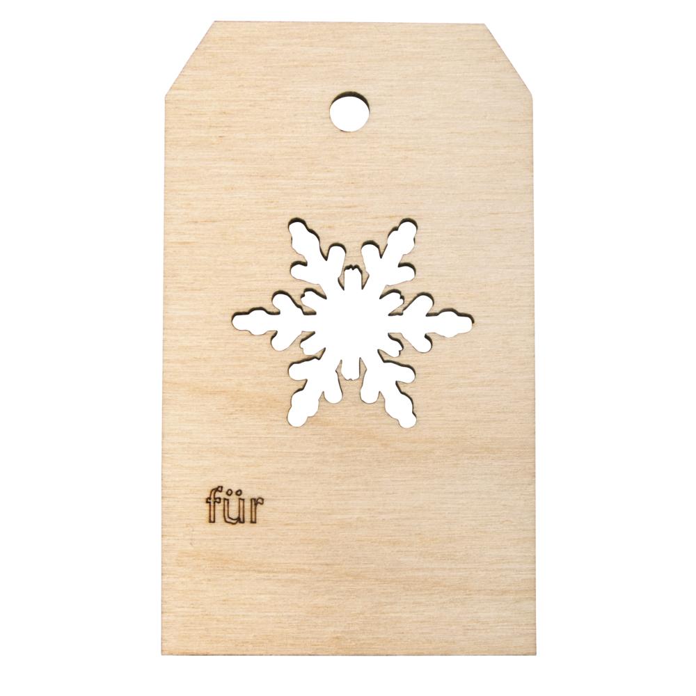 Holz Anhänger Schneeflocke, FSCMixCred, 4,8x8,2cm, natur